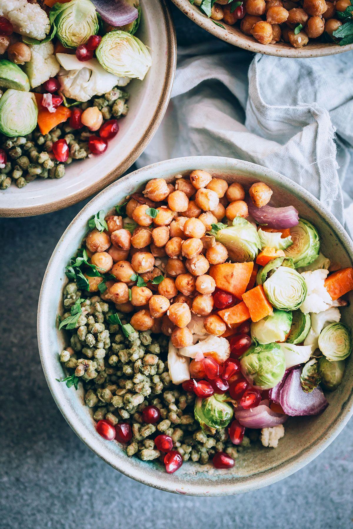 Autumn harvest bowls with freekeh and parsleytahini sauce