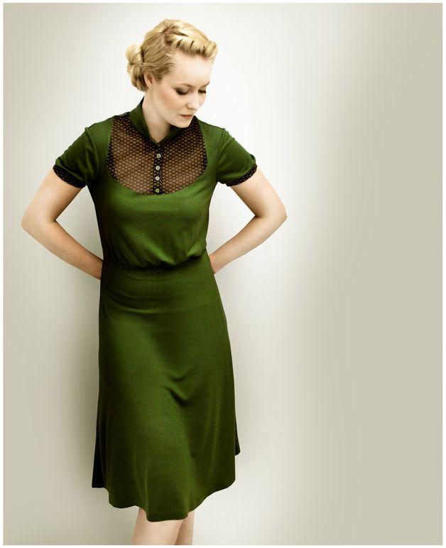FEMKIT olive Jerseykleid M.I.R.A | Knielange kleider, Knielang und ...