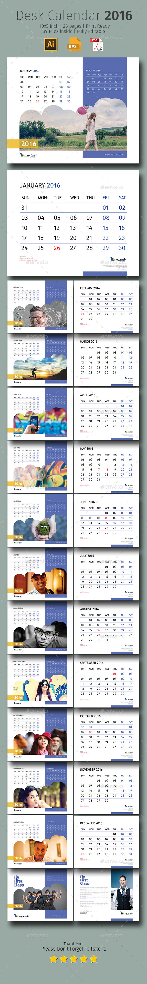 Table Calendar 2016 : Desk calendar design download http graphicriver