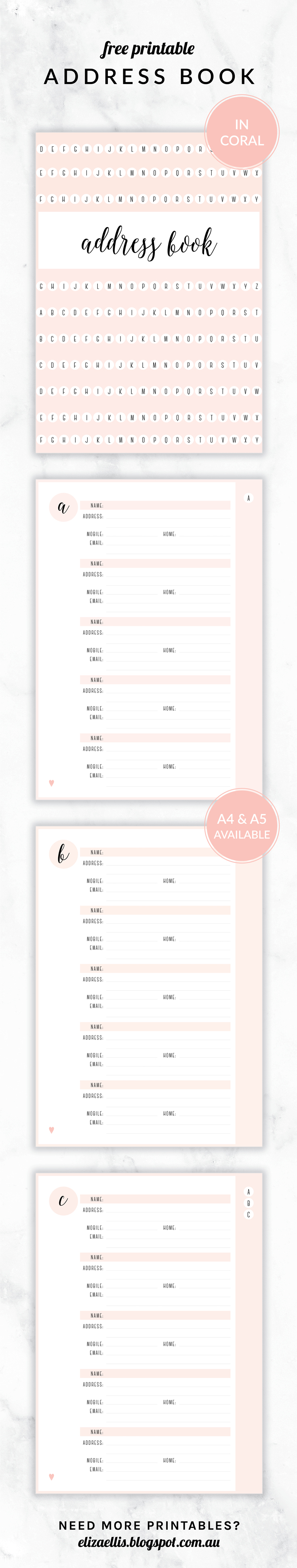 Free Printable Irma Address Book Eliza Ellis Available In 6 Colors And In Both A4 And A5 Sizes Planner Printables Free Free Printables Printable Planner