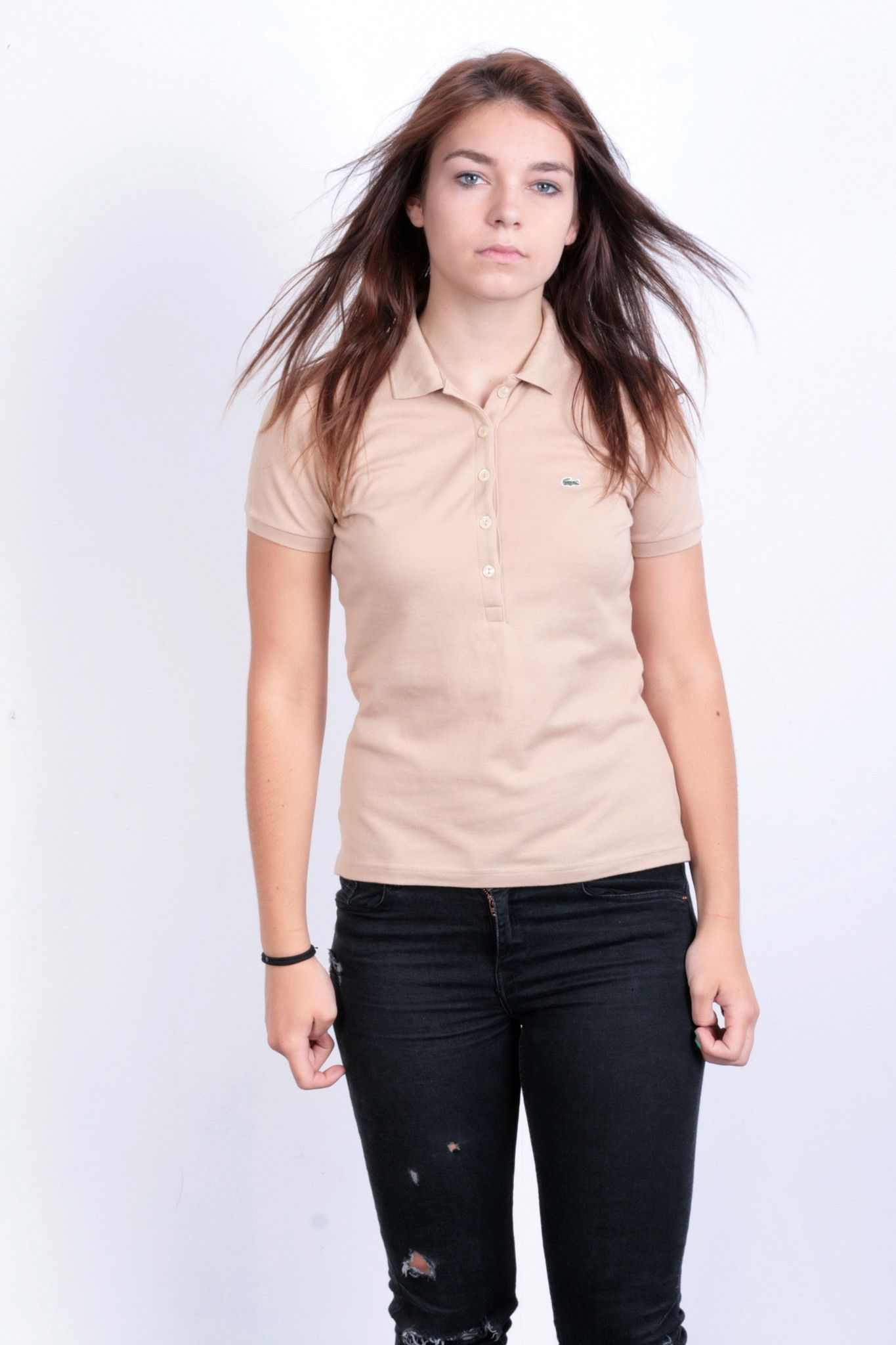 Lacoste Womens 38 M Polo Shirt Cotton Beige Short Sleeve