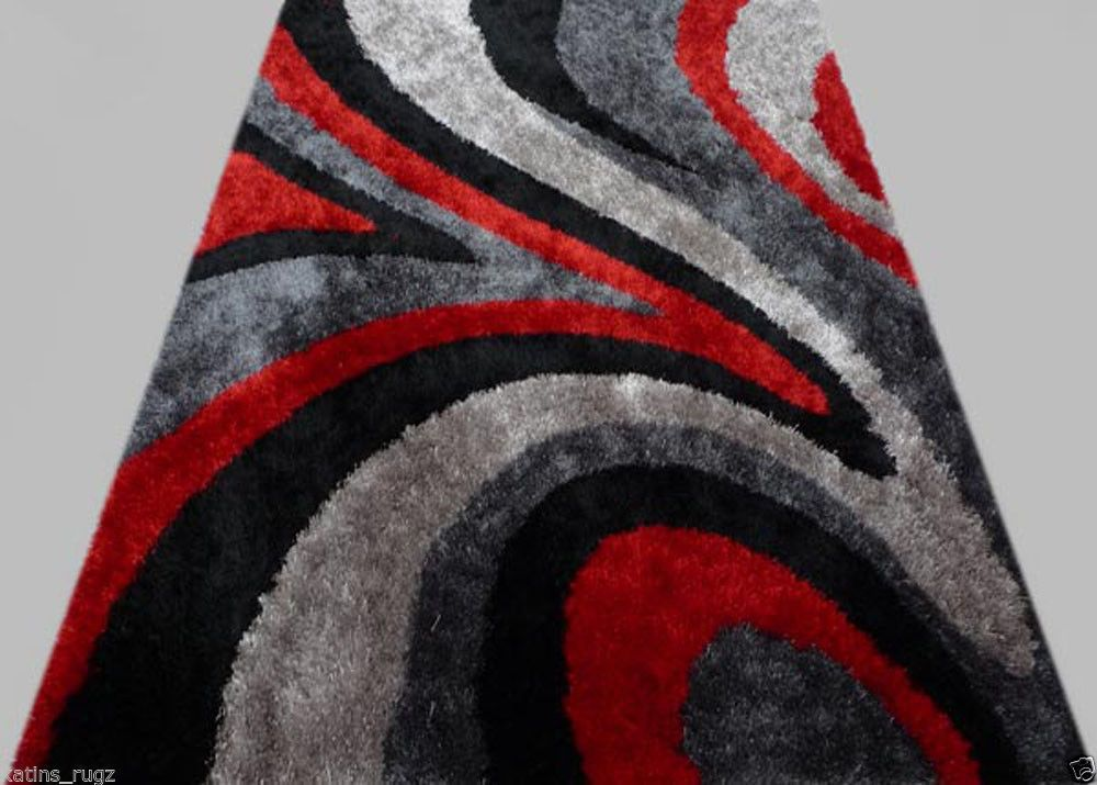 Gy Modern Black Red Grey 5x8 Area Rug Actual Size 5 1 X 6 11