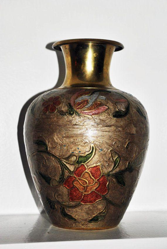 Solid Brass Vintage Cloisonne Vase Made In By Ginascornercrafts