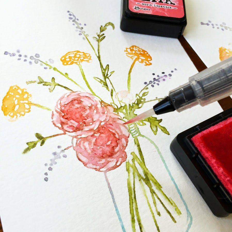 art scrap & more: alexandra's Sunday scrapbooking - Stamping & Watercolor