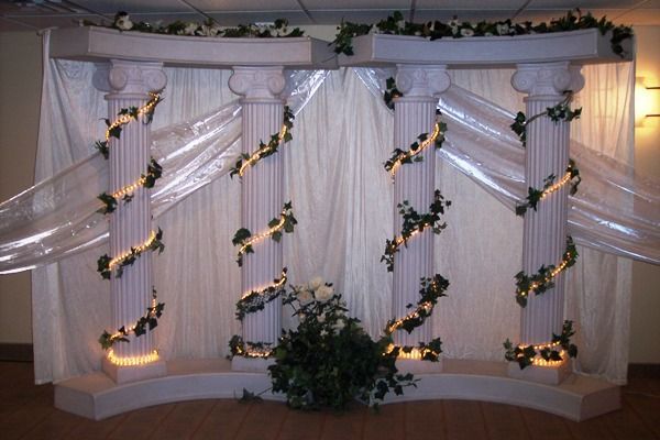 Wedding columns decoration ideas elegant roman pillar 6 column wedding columns decoration ideas elegant roman pillar 6 column with fanned draping junglespirit Image collections