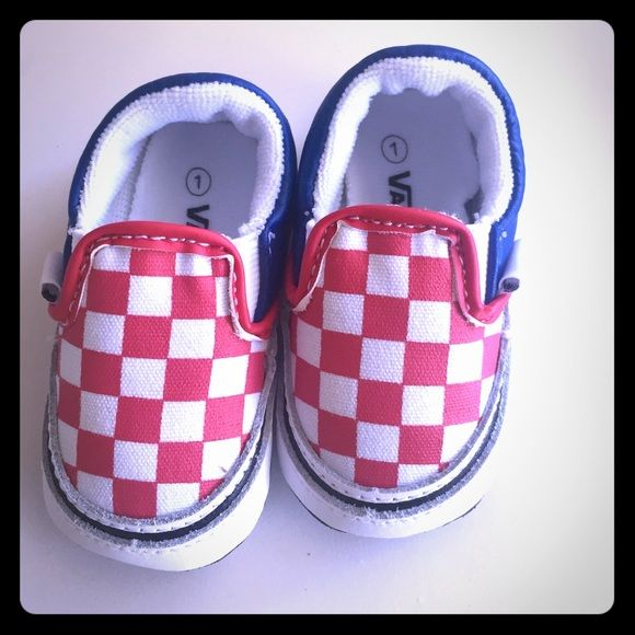 Baby Vans- Classic Slip-on style Adorable Brand NEW baby Vans. Red   white  checkered with blue stars on the back. So cute!! Too small for my baby! c082619aa