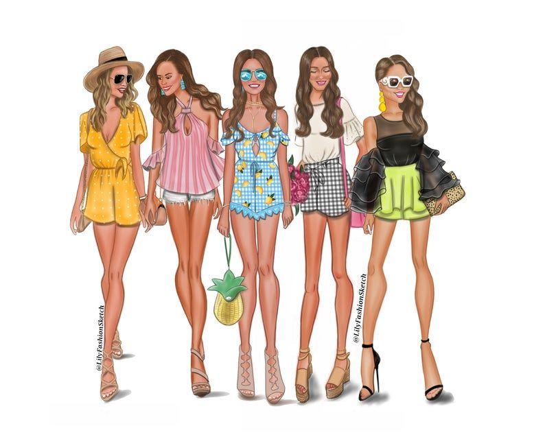 Group of 5 Custom Fashion Illustration, Family Portrait, Gift for friends, Custom Art, Fashion Illustration, Friends Illustration