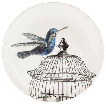 White Caged Hummingbird Side Plate - contemporary - dinnerware - Liberty