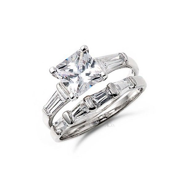 Affordable Diamond Wedding Sets Cut Rings Sterling Silver Princess Ring
