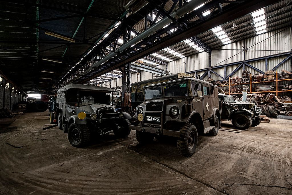 """Vintage Wartime Vehicles in """"Abandoned"""" Warehouse"""