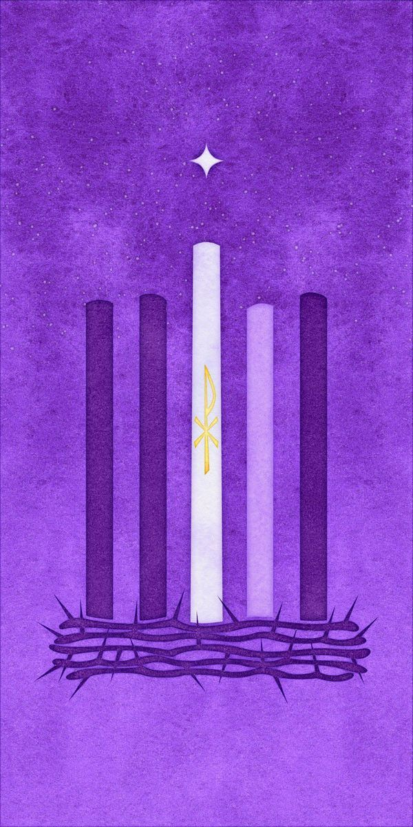 scapegoat studio advent watercolor candle and thorns banner purple