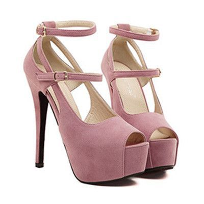 e0b020941650 Peep-toe open toes Pumps High Heels Crossover straps H Shoes Pink ...