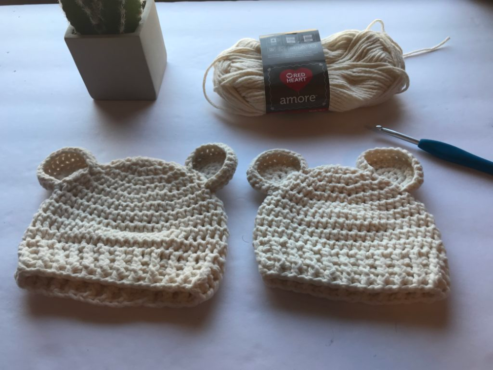 Make the Baby Bear Beanie Crochet Pattern in preemie or newborn sizes with this free pattern by Crochet It Creations using Red Hear Amore Yarn.