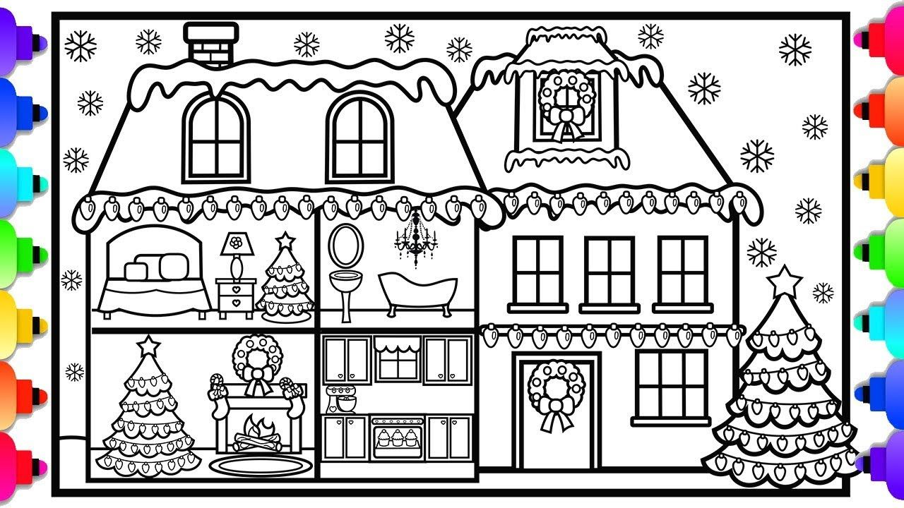 Visit Rainbowplayhouse Com To Print This Coloring Page How To Draw And Color A House Wi Printable Christmas Coloring Pages Christmas Coloring Page Glitter Art