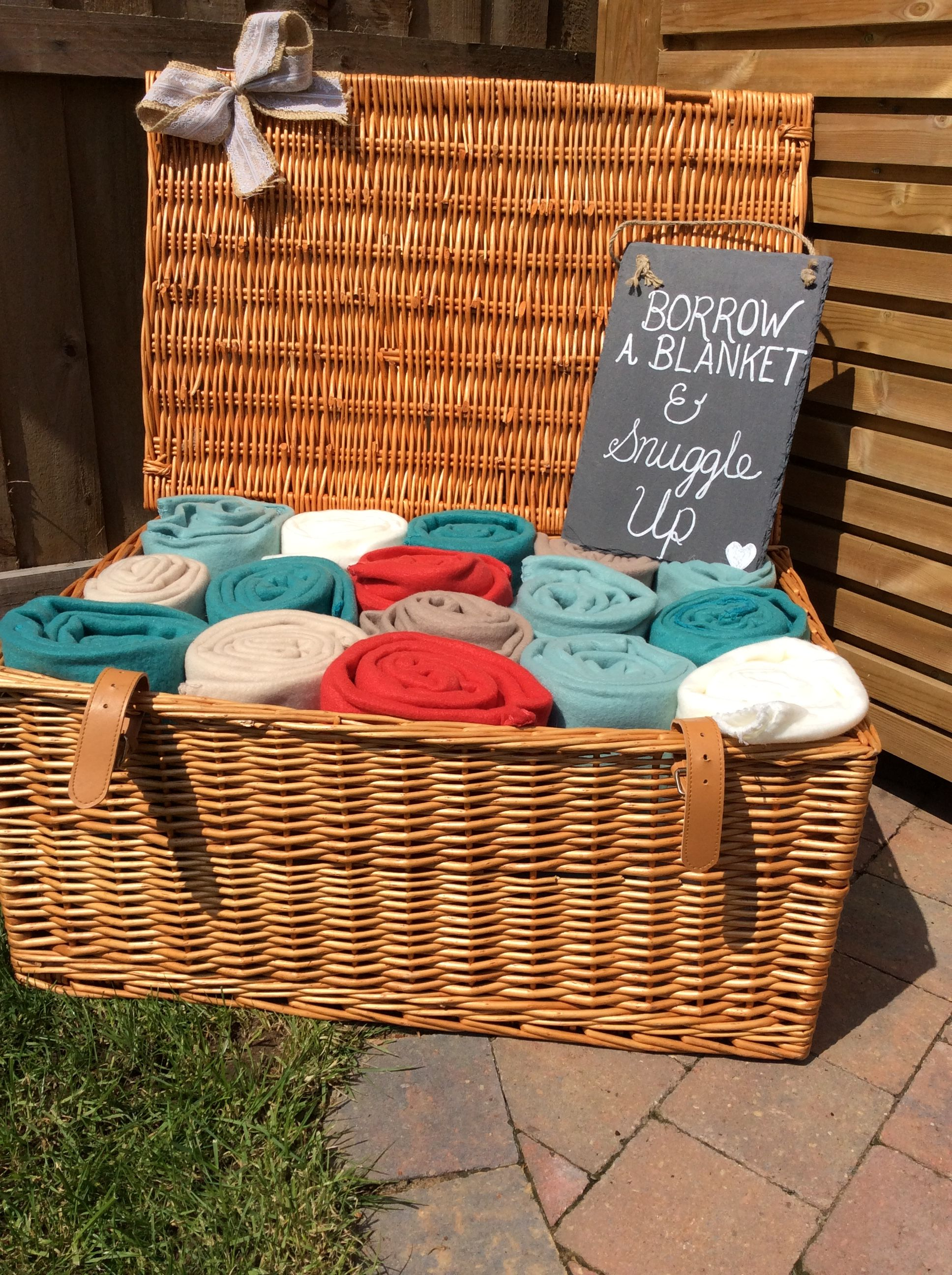 Basket and sign £12 hire fee fill with your own blankets ideal for festival outdoor weddings events parties wedding hire in cambridgeshire