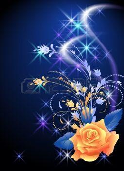 feu d artifice FLEUR: Fond rougeoyant à la rose et les étoiles Illustration