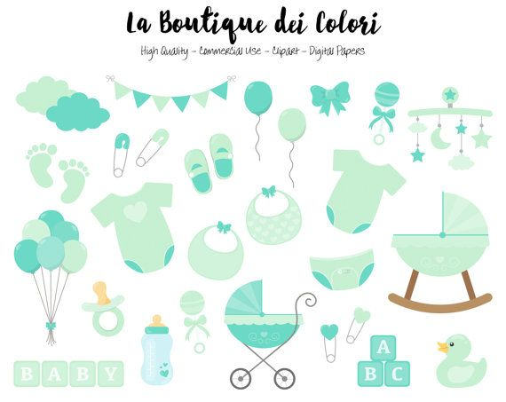 Mint Baby Shower Clipart Cute Graphics Png Scrapbook