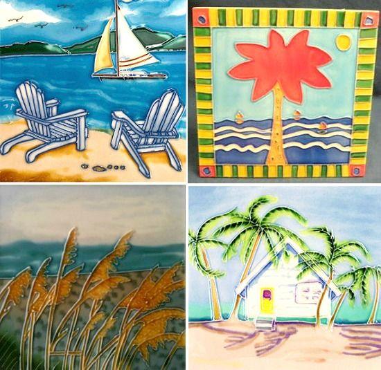 Beach Tile Art. Single artsy tiles to insert into your tile scheme. Featured on Beach Bliss Living: http://beachblissliving.com/tile-art/