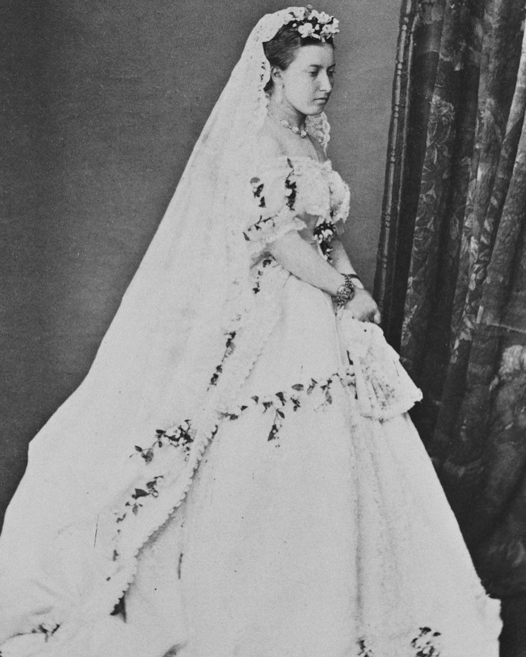 Princess Helena The Fifth Child And Third Daughter Of Queen Victoria Wore A Dress Of White Satin Featuring Wedding Dresses Queen Victoria Royal Wedding Dress [ 1306 x 1045 Pixel ]