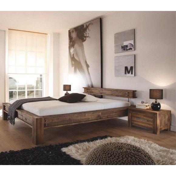 BETT in Holz Braun, Akaziefarben Betten Schlafen