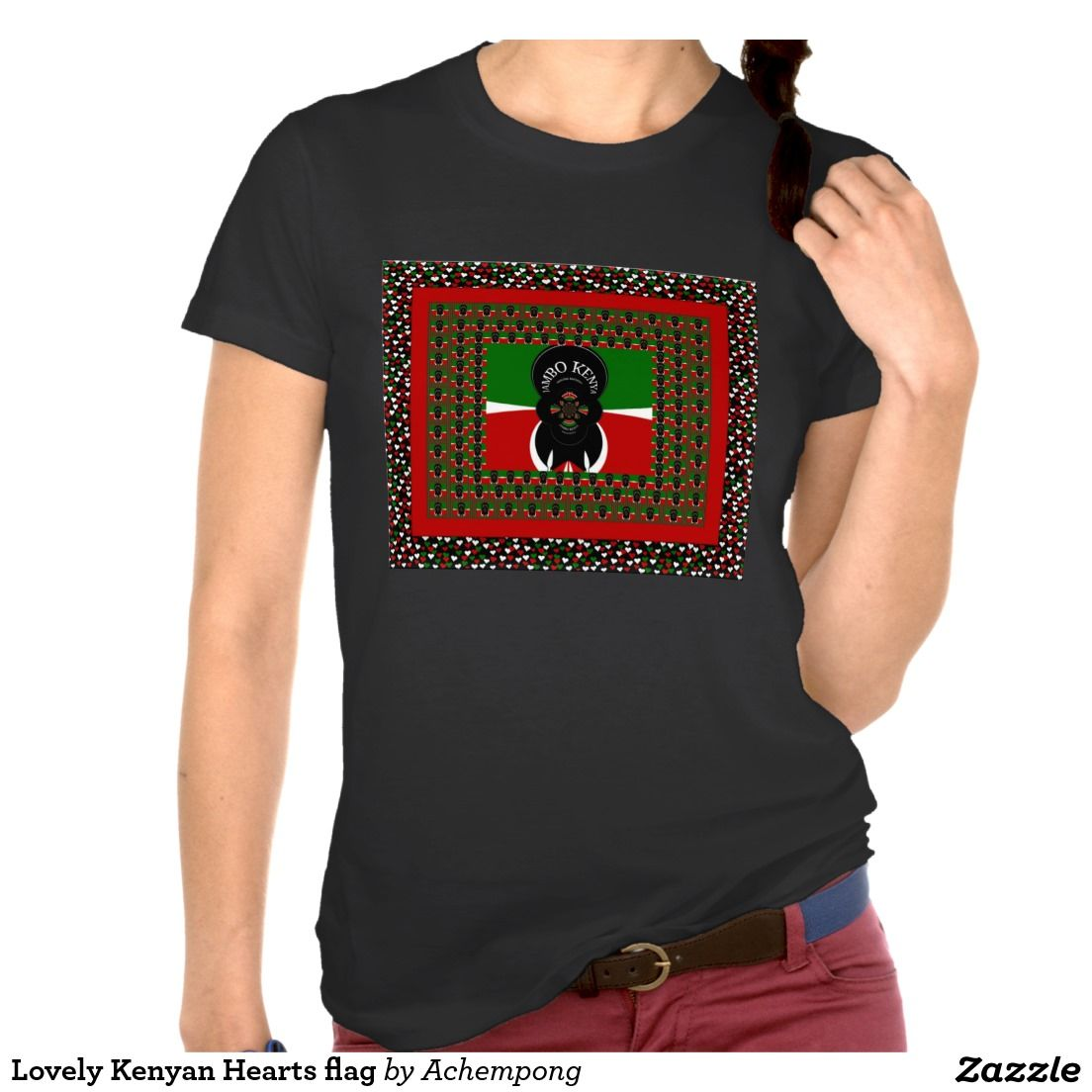 Design t shirt zazzle - Lovely Kenyan Hearts Flag T Shirt