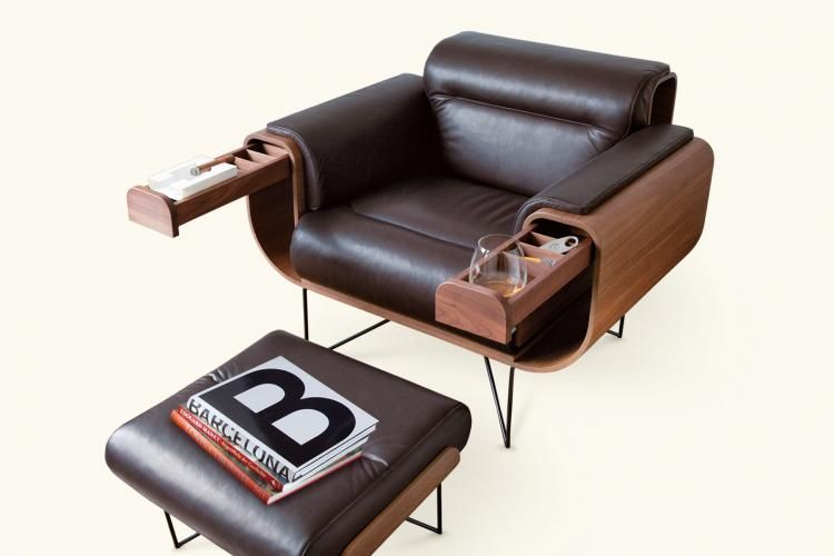 el purista leather smoking arm chair with slide out storage