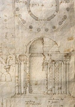 Andrea Palladio Plan, elevation and details of the Round Temple (Temple of Vesta) in the Forum B ...