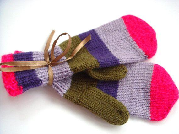 Purple mittens women mittens knitted mittens by RainbowMittens