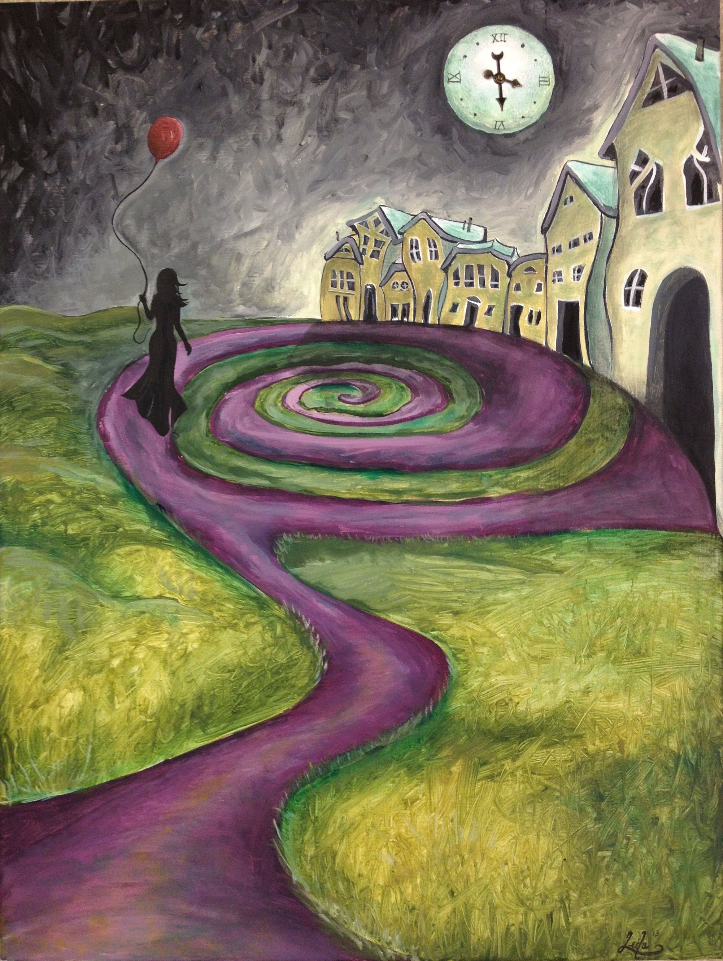 Girl With The Red Balloon Painting Art Fantasy Symbolism