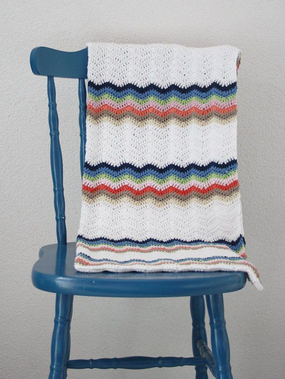 Crochet baby blanket: pastel colors pink green blue beige white ...