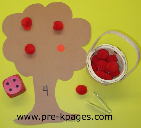 "Fall ideas from Pre-K Pages...apple unit: sing ""Apples, apples in the tree! How many apples will there be?"" Speak ""roll the dice"" sing again. Count number on dice with student. Sing ""Apples, apples in the tree. There are (number) little apples in the tree."""