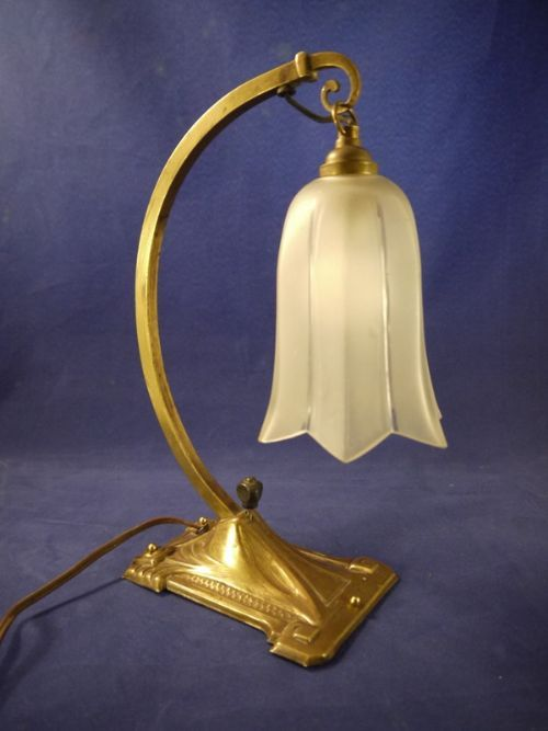 French Art Nouveau Brass Table Lamp, c1910