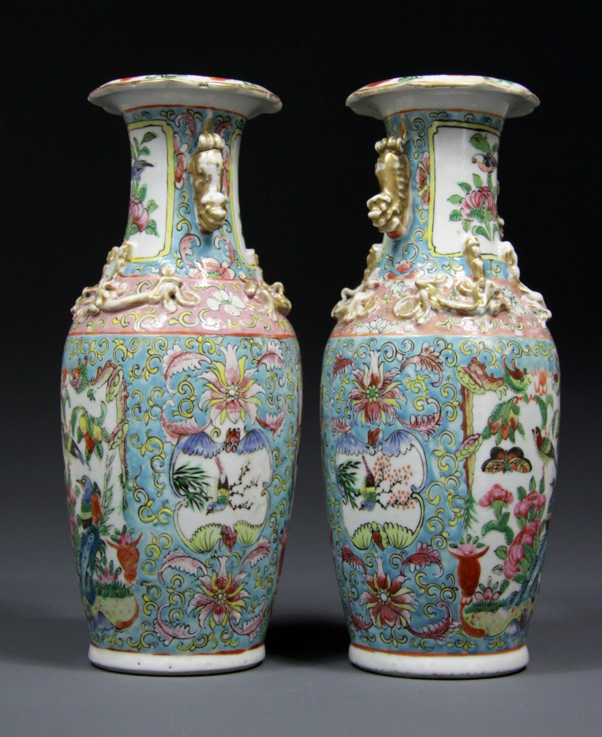 Fine pair antique 19th century chinese porcelain baluster canton fine pair antique 19th century chinese porcelain baluster canton vases chinese polychrome vases with medallions reviewsmspy