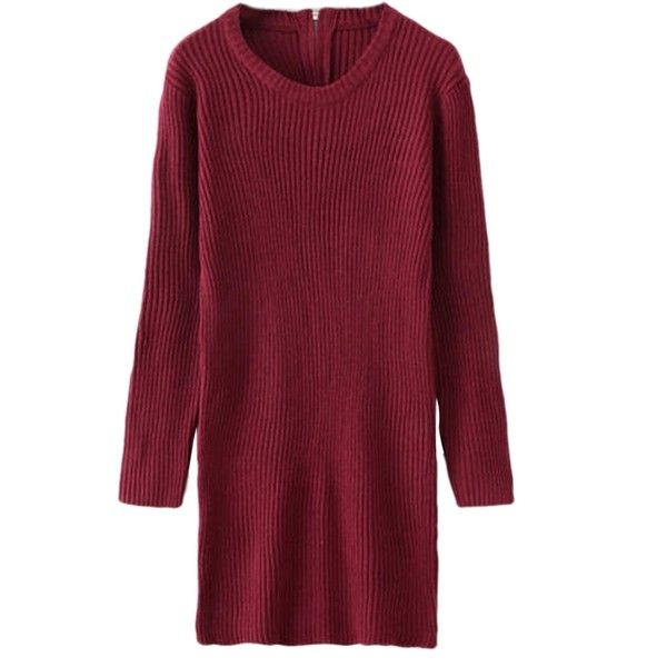 Ruby Sexy Womens Knitting Long Sleeve Zip Plain Sweater Dress (€29) ❤ liked on Polyvore