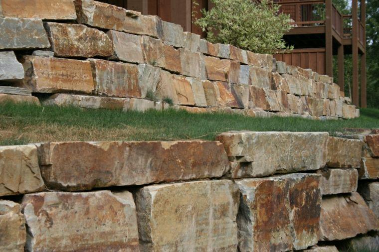 Muros De Piedra Seca Sin Cemento 24 Ideas Para Jardines Muros De Piedra Muros De Contencion De Jardineria Muros De Contencion De Concreto