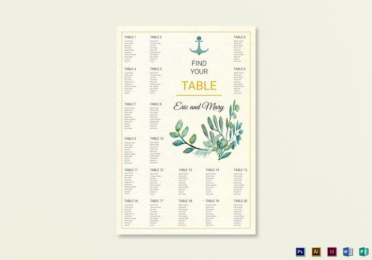 Nautical Wedding Seating Chart Template Wedding Invitation - Wedding invitation templates: seating chart template wedding