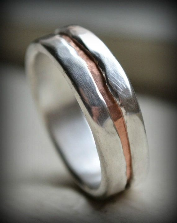 Mens Wedding Band Rustic Fine Silver And Copper Ring Etsy Copper Wedding Rings Mens Wedding Bands Rustic Wedding Bands
