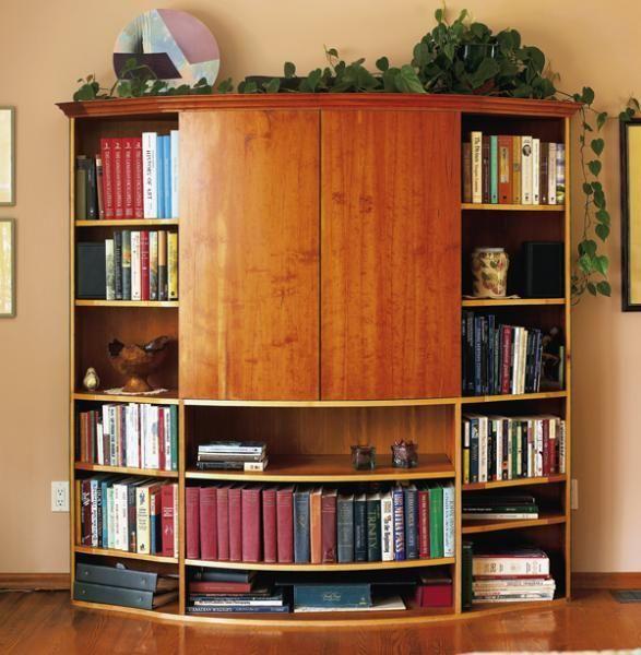 Custom Made Cherry Veneer Home Theater Bookcase By Eidos