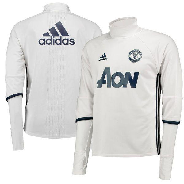 Manchester United adidas 2017/18 Long Sleeve Training Shirt - White/Navy