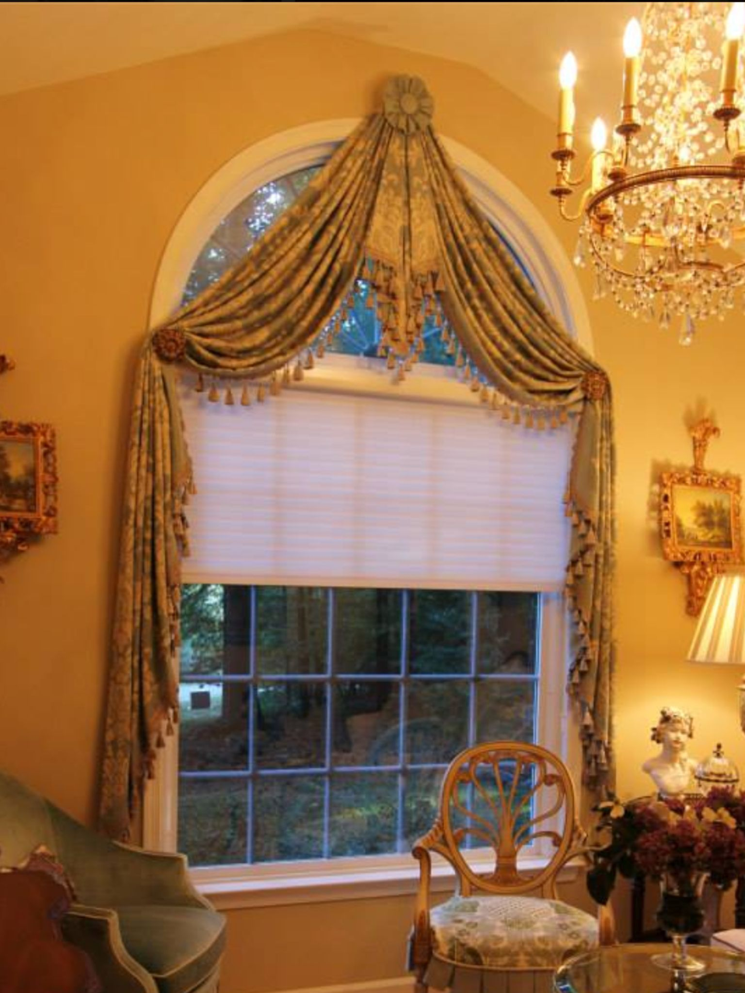 Throw Swag With Center Pelmet Interiors By Diane Dining Room Curtains Curtains For Arched Windows Window Treatments Bedroom