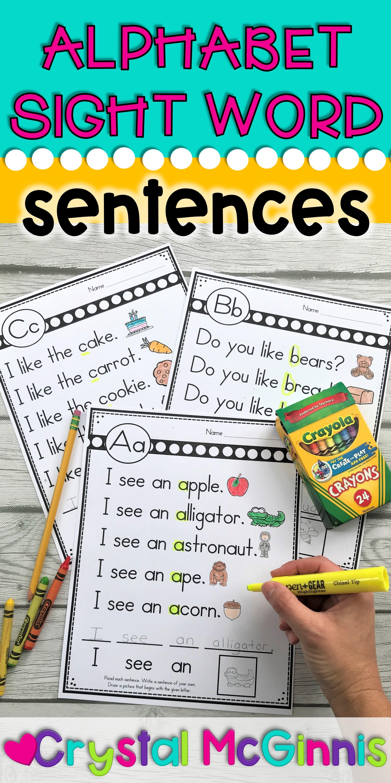 Alphabet Sight Word Sentences For Kindergarten In