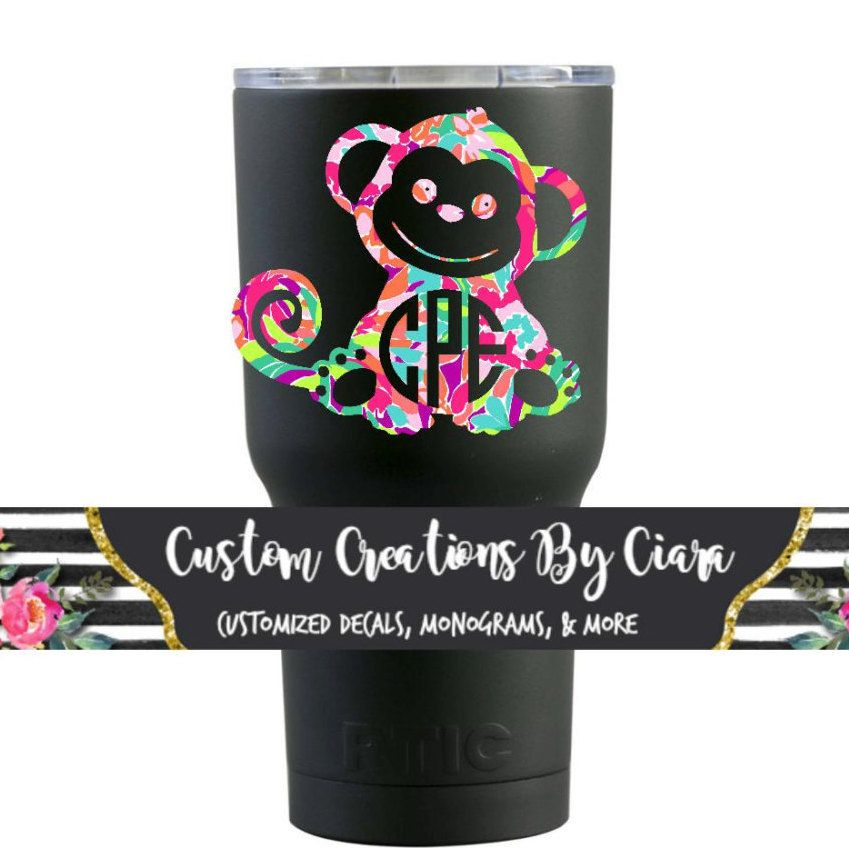 Lilly Monkey Monogram Decal Custom Monkey Sticker Yeti Cup - Custom stickers for yeti cups