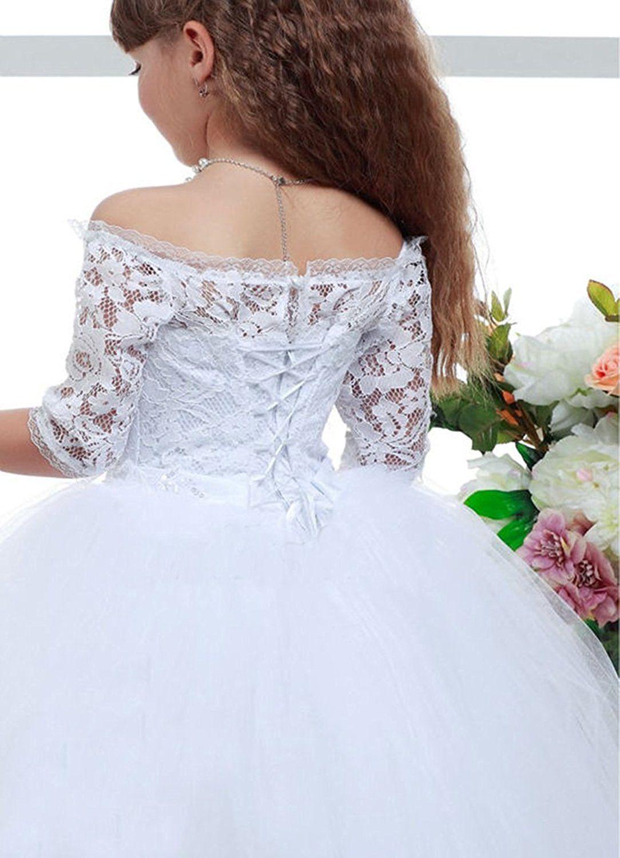 Kokohouse white flower girl dresses off the shoulder ball