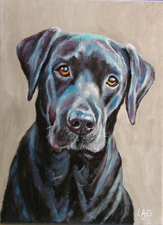 80b809d0c585 Custom pet portrait on a stretched canvas by LOUISEBROWNART | Dogs ...