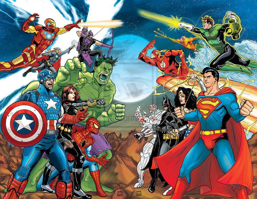 Avengers Vs Justice League Color By Mannymederos Deviantart Avengers Vs Justice League Marvel Comics Superheroes Dc Comics Vs Marvel