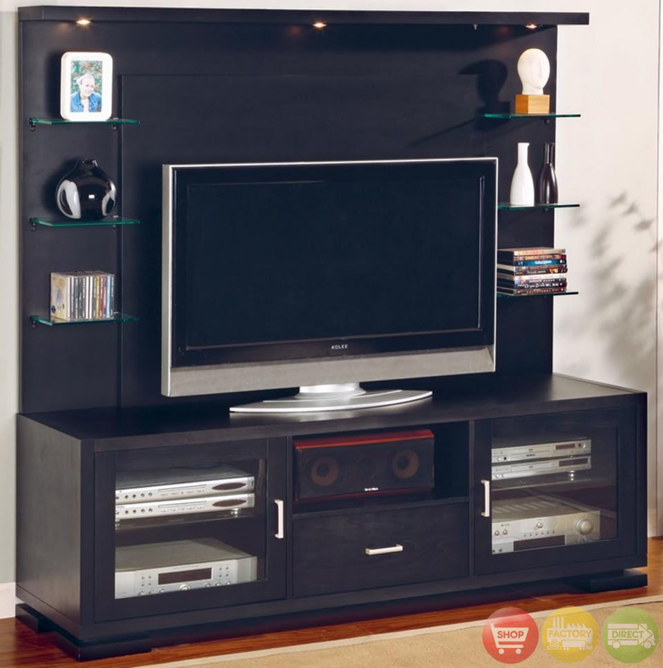 flat panel tv wall unit entertainment center black wood  flat  - flat panel tv wall unit entertainment center black wood
