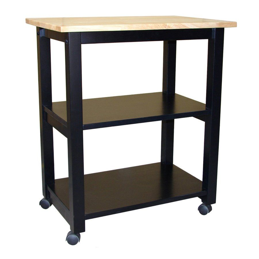 International concepts naturalblack rectangular kitchen cart wc