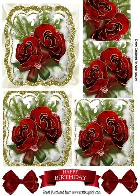 Pretty red roses with fern bows in glitter frame pyramids on Craftsuprint designed by Nick Bowley - Pretty red roses with fern and bows in glitter frame pyramids, can also be seen in 8x8, makes a pretty card, tags can be seen in my designer resources - Now available for download!
