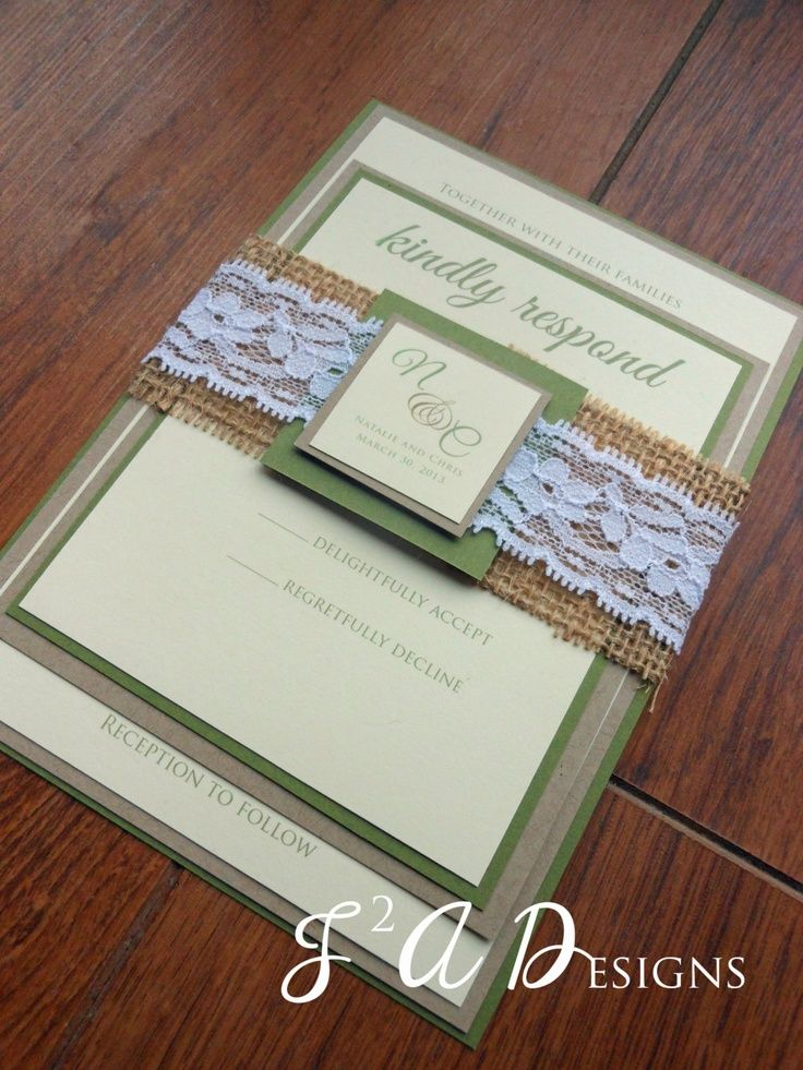 Burlap Lace Wedding Invitation, Rustic Wedding Invite, Burlap ...