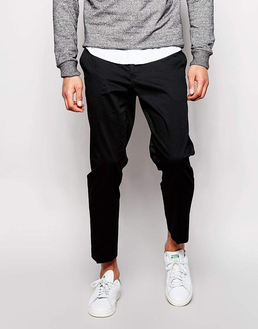 ASOS Skinny Fit Smart Cropped Trousers In Cotton Sateen